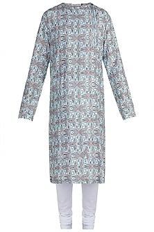 Blue & White Digital Printed Kurta Set by Mayank Modi