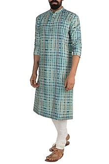 Blue & Green Digital Printed Kurta Set by Mayank Modi
