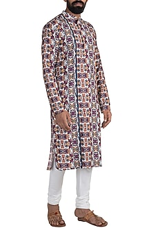Multi Coloured Tropical Digital Printed Kurta Set by Mayank Modi