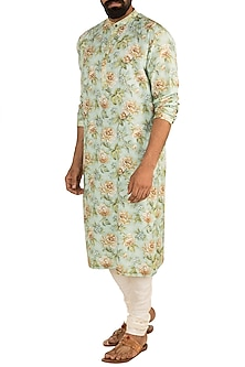Mint Green & Off White Floral Printed Kurta Set by Mayank Modi