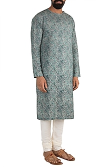 Green & Gold Digital Printed Kurta Set by Mayank Modi