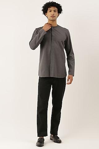 Grey Malai Cotton Short Kurta by Mayank Modi