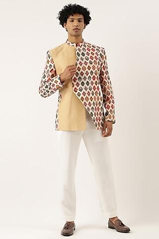 Beige Printed Bandhgala Jacket by Mayank Modi