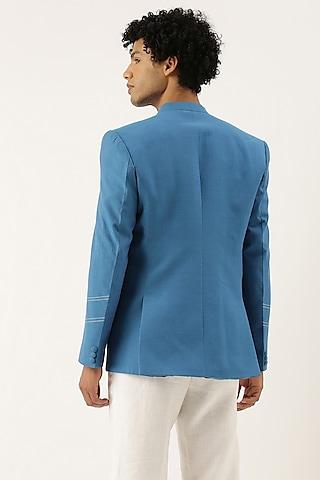 Blue Malai Cotton Bandhgala Jacket by Mayank Modi