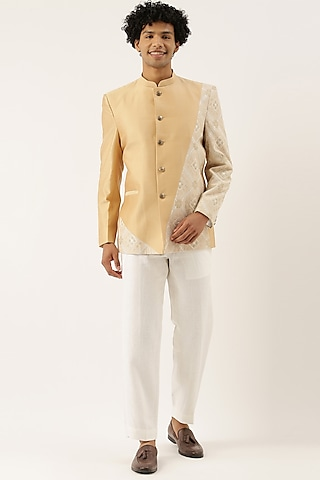 Pastel Beige & Ivory Embroidered Bandhgala Jacket by Mayank Modi
