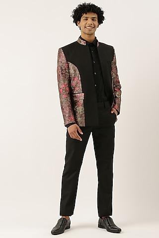 Black & Pink Printed Bandhgala Jacket by Mayank Modi