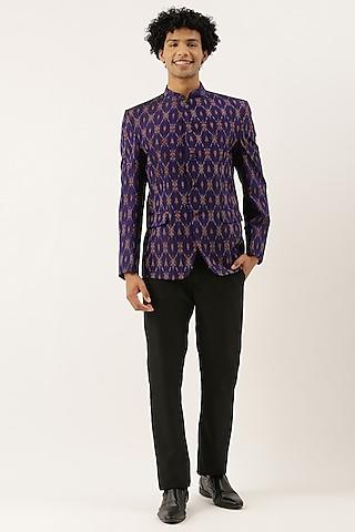 Purple Ikat Bandhgala Jacket by Mayank Modi