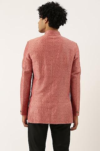 Red Silk Jacquard Bandhgala Jacket by Mayank Modi