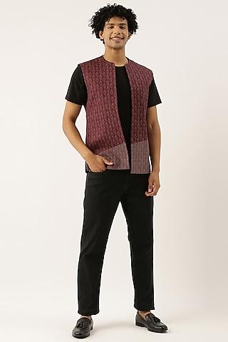 Maroon Linen Open Jacket by Mayank Modi