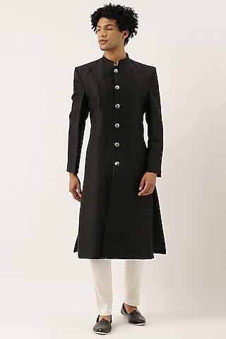Black Silk Sherwani by Mayank Modi