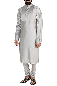 Silver Grey Pintuck Kurta Set by Mayank Modi