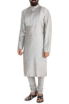 Silver Grey Pintuck Kurta Set by Mayank Modi