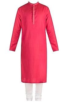 Pink Embroidered Kurta Set by Mayank Modi