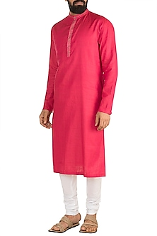 Pink Embroidered Kurta Set by Mayank Modi