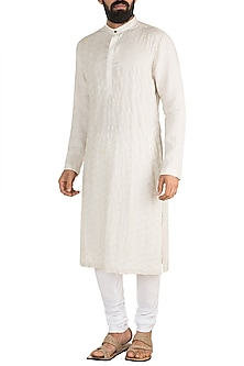 White Embroidered Kurta Set by Mayank Modi