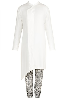 White Kurta With Printed Churidar Pants by Mayank Modi