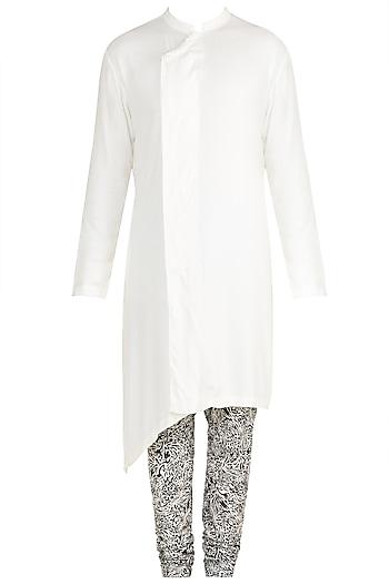 White Kurta With Printed Churidar Pants by Mayank Modi