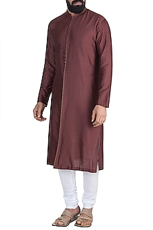 Chocolate Brown Embroidered Kurta Set by Mayank Modi