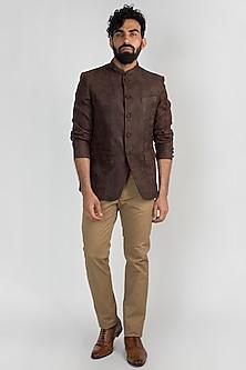 Brown Leather Bandhgala Jacket by Mayank Modi