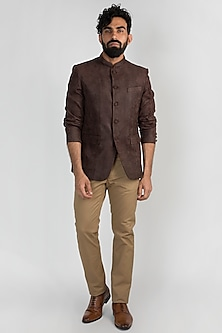 Brown Leather Bandhgala Jacket by Mayank Modi