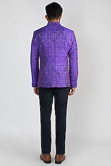 Purple Ikat Bandhgala Jacket by Mayank Modi
