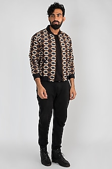 Brown Printed Bomber Jacket by Mayank Modi