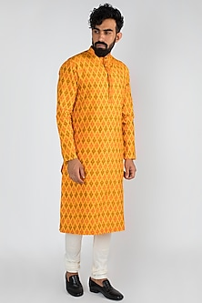 Yellow Silk Ikat Kurta Set by Mayank Modi