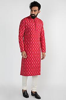 Fuchsia Silk Ikat Kurta Set by Mayank Modi