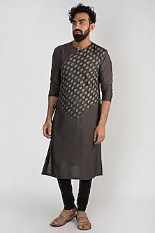 Grey Printed Kurta Set by Mayank Modi