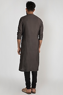 Grey Printed Kurta Set by Mayank Modi