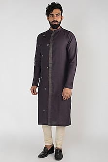 Purple Hand Embroidered Kurta Set by Mayank Modi