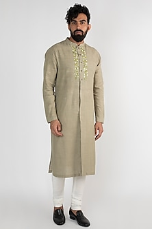 Olive Green Embroidered Kurta Set by Mayank Modi