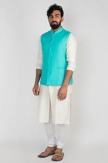 Aqua Blue Nehru Jacket by Mayank Modi