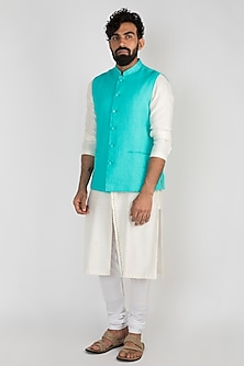 Aqua Blue Nehru Jacket by Mayank Modi