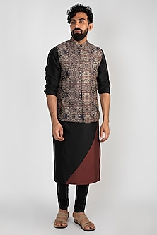 Brown Printed Nehru Jacket by Mayank Modi