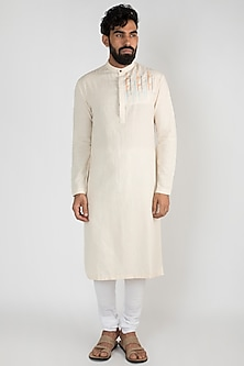 Beige Handwoven Embroidered Kurta Set by Mayank Modi
