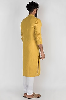 Yellow Striped & Checkered Kurta Set by Mayank Modi