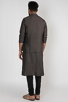 Charcoal Grey Classic Nehru Jacket by Mayank Modi