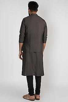 Charcoal Grey Classic Nehru Jacket by Mayank Modi