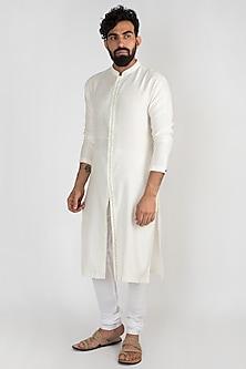 Off White Embroidered Kurta With Churidar Pants by Mayank Modi
