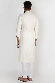 Off White Embroidered Kurta With Churidar Pants by Mayank Modi