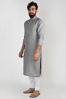 Grey Embroidered Linen Kurta With Churidar Pants by Mayank Modi