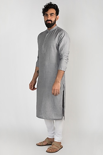 Grey Embroidered Linen Kurta With Churidar Pants by Mayank Modi