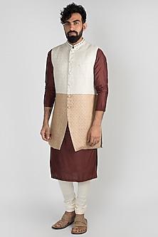 Beige & Brown Long Nehru Jacket by Mayank Modi