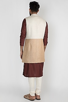 Beige & Brown Long Nehru Jacket by Mayank Modi