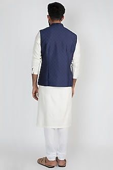 Navy Blue Silk Embroidered Jacket by Mayank Modi