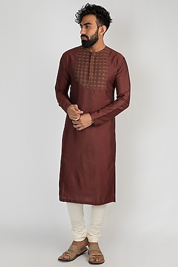 Brown Hand Embroidered Kurta With Churidar Pants by Mayank Modi