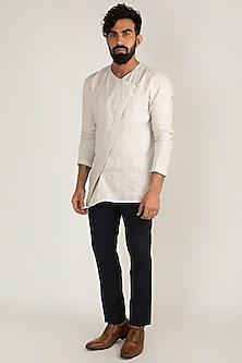 Off White Linen Short Kurta by Mayank Modi