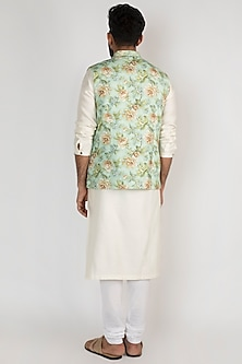 Mint Green Floral Printed Jacket by Mayank Modi