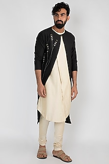 Beige Double Layered Kurta With Pants & Jacket by Mayank Modi